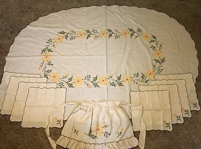 Vintage Handmade Cross Stitch Oval Tablecloth, Apron, 8 Place Settings