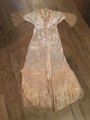 1930's Vintage Cream Satin And Lace Woman's Robe/ Gown