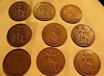 Lot of (9) UK England ONE PENNY Coins:  1907, 08, 14, 15, 16, 18, 19, 22, 1928