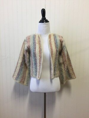 Vintage 70s Woven Jacket Wool Shrug Sweater Multi-color Thick Wide Sleeves S