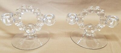 PAIR OF DOUBLE CANDLE HOLDERS VINTAGE IMPERIAL CANDLEWICK Clear Elegant Glass