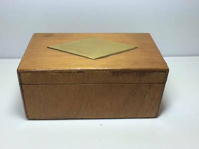 Vintage wooden hand made box magnetic locking