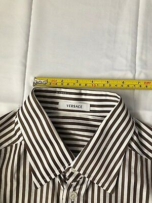 5387ee3e AUTHENTIC Versace Mens Size 54 Dress Shirt Long Sleeve Brown Cream White  stripe