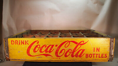 Vintage Coca Cola Crate Pittsburgh 1963 Bottle Carrier Yellow with Red Lettering