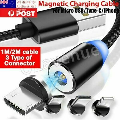 AU 360° Round Magnetic Charger Adapter IOS/Micro USB/Type-C Fast Charging Cable