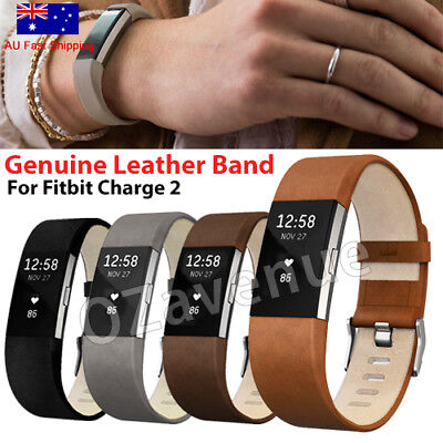 Genuine Leather Replacement Strap Wrist Watch Band For Fitbit Charge 2