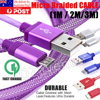 FAST CHARGING Android Charger Micro USB Cable Premium Braided Samsung Galaxy 6 7