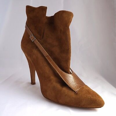 Maison Martin Margiela Women Brown Suede Leather Ankle Boots Size 39 Bootie