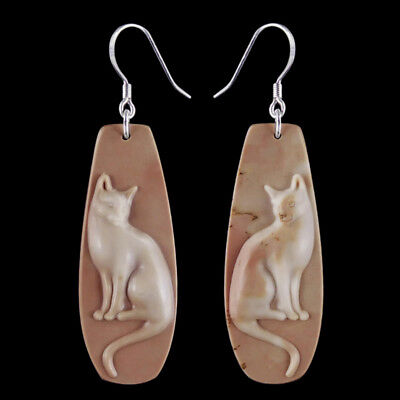 Carved Cat Silver Earring EH900125