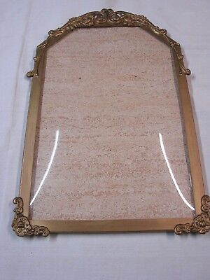 Beautiful Old Metal Bubble Glass / Curved Glass Picture Frame