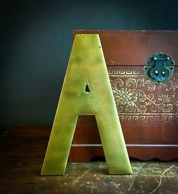 """Vintage """"A"""" Architectural Salvage 10"""" Solid Brass Sign Letter - Large & Heavy!"""