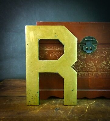 """Vintage """"R"""" Architectural Salvage 10"""" Solid Brass Sign Letter - Large & Heavy!"""