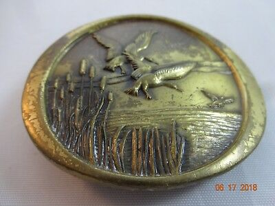 Vintage 1970s Oval Brass Belt Buckle Ducks Geese Flying Cattail Hunting Camping