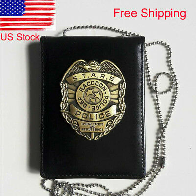 Leather Resident Evil Badge Stars Raccoon Police Dep. Metal Badge And ID Holder
