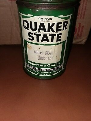Vintage QUAKER STATE WHEEL BEARING LUBRICANT TIN CAN  EMPTY 1 LB.