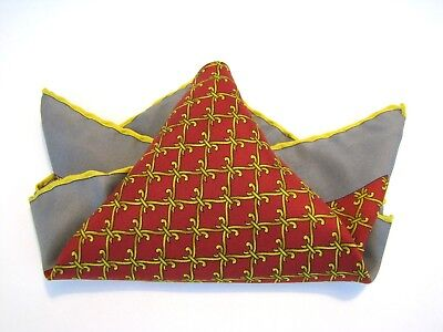 CELINE PARIS Silk Red Gray Yellow Ornate Scroll Pocket Square Scarf Hand Rolled