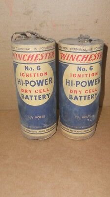 Vintage Pair Of  Winchester No.6 Ignition Hi Power Dry Cell Batteries 1 1/2 Volt