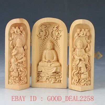Chinese Boxwood Highly Difficulty Carved Three Gods Floding Box FK05