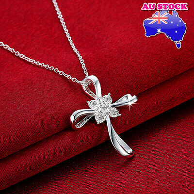 Classic Wholesale 925 Sterling Silver Filled Hollow Cross Zirconia Pendant Neckl