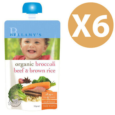 NEW Bellamys Organic Broccoli, Beef & Brown Rice Pouch 110g x6
