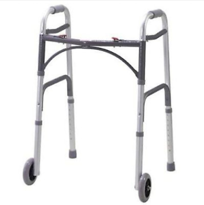 "Drive Medical Deluxe Folding Walker Lightweight with 5"" Inch Wheels  New"