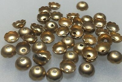 (10) 6mm Vintage Gold Tone Metal Flower Caps For Jewellery Making Craft
