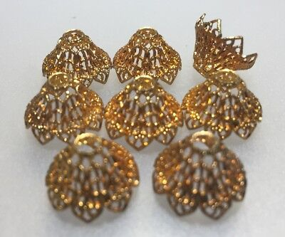 (4) 12 X 15mm Vintage Gold Tone Metal Flower Caps For Jewellery Making Craft