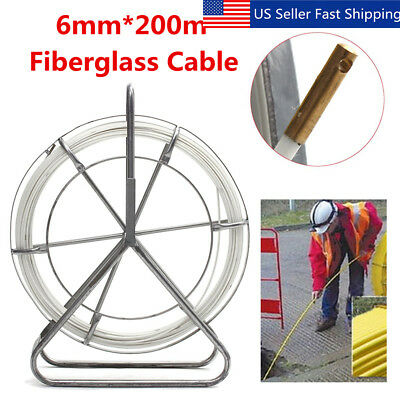 6mm 200m Fish Tape Fiberglass Wire Cable Running Rod Duct Rodder Fishtape Puller