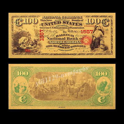 1875 Year US $100 Dollar 24K Gold Foil Banknote Home Living Decor Art Craft Gift