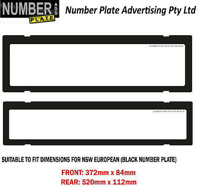 Number Plate Cover NSW / SA -  Black Euro Clip On - Clear No Lines