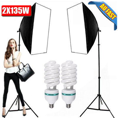 2X135W Photography Studio Continuous Lighting Softbox Soft Box Light Stand Kit