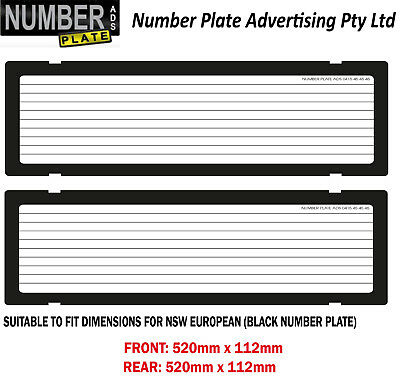Number Plate Cover Euro White Clip On - Pinstripe Lines