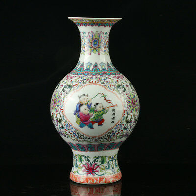 Chinese Porcelain Hand-Painted Children Vase Mark As The Qianlong Period R1056