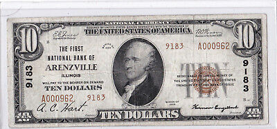 $10 1929 T2 First National ARENZVILLE Illinois IL MEGA RARE! Only 2 on Census!