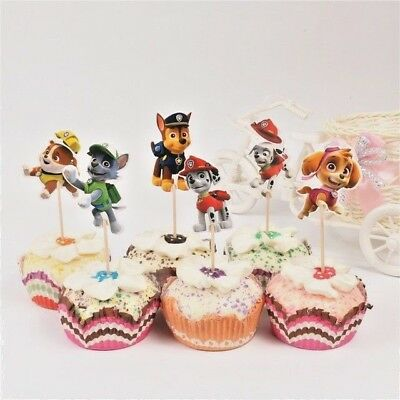 Paw Patrol Cupcake Double Sided Toppers Food Picks Party