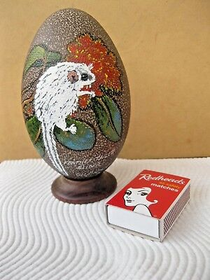 Hand Painted Emu Egg On Wooden Plinth