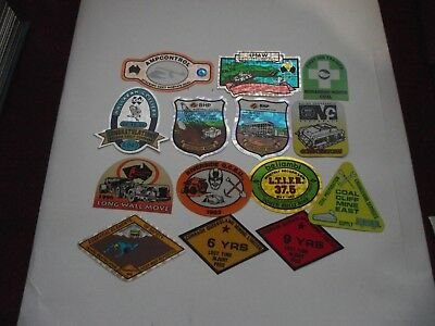 14 Mixed Mining Stickers, in mint condition.