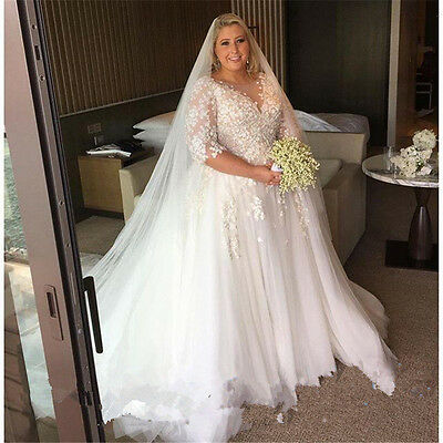 ae25ed291408 Plus Size Wedding Dress Applique Tulle Bridal Gown Custom Size 18 20 22 24  26 +