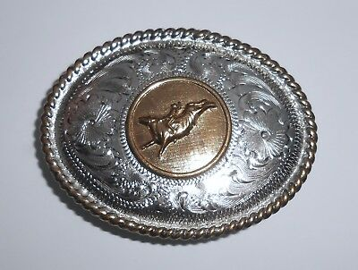Vintage ALPACA Mexico Bull Rider Southwestern Rodeo Belt Buckle SMALL