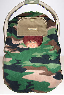 Infant Car Seat Cover Army Green Camo Baby Mocha Fleece Embroidery Bootie