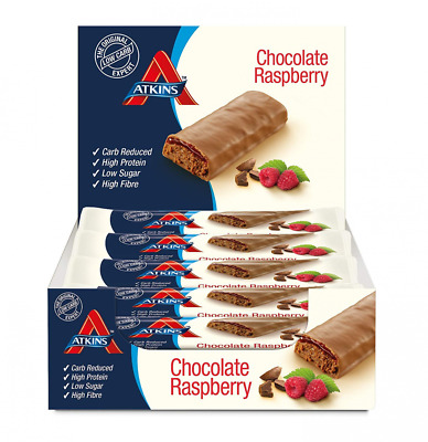 Atkins Chocolate Raspberry, Low Carb, High Protein Snack bar, 15 x 30g
