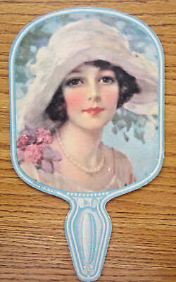 Vintage Advertising Victorian Girl Paper Fan Without Ad On Back