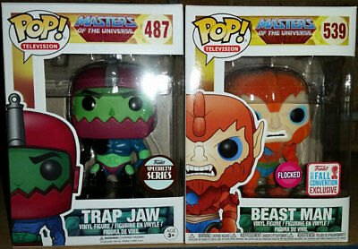 Masters of the Universe Exclusive Flocked Beast Man and Specialty Trap Jaw Pop!