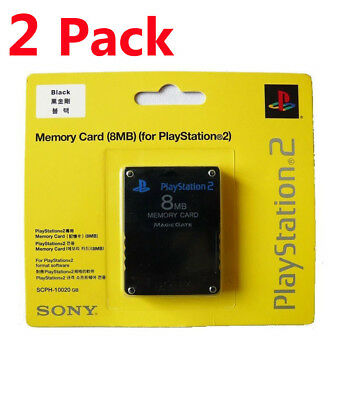 2X Sony PlayStation 2 PS2 Memory Card 8MB BRAND NEW & FACTORY SEALED
