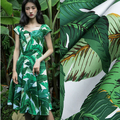Green Palm Leaves Cotton Fabric Amazon Tropical Leaf Dressmaking Material Craft