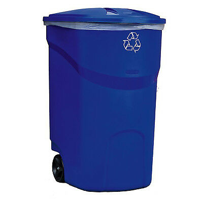 WHEELED TRASH CAN WITH LID 45 Gal Outdoor Hinged Heavy Duty Recycle Bin Blue