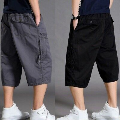 Mens 3/4 Length Cargo Pants Shorts Baggy Casual Cotton Trousers Plus Size Solid