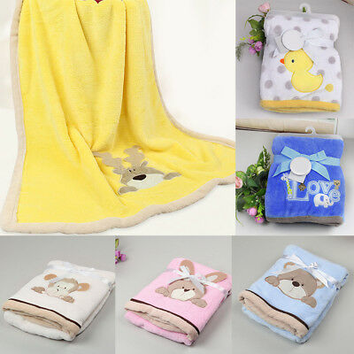Baby Newborn Fleece Blanket Pram Crib Moses Basket Girl Boy Infant Rug Pleas