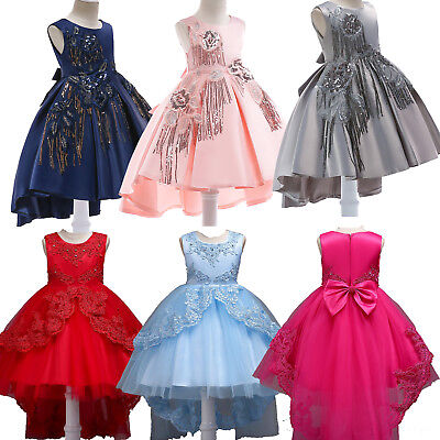 Kids Girl Flower Wedding Bridesmaid Dress Party Pageant Beauty Dress Skirt 3-15Y