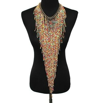 Boho Beads Tassel Fancy Necklace Jewelry Ethnic Costume Dress Decor Accessory